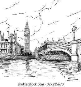 London city hand drawn, vector illustration