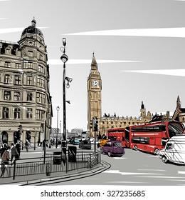 London city hand drawn, vector illustration