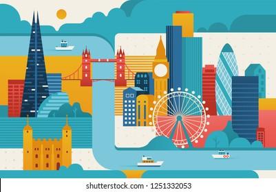 London city illustration. London skyline. Vector flat style illustration.