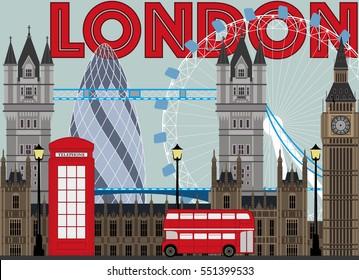 London city illustrtion for print