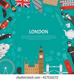 London city landmarks and cultural symbols decorative border design for frame or notepad flat abstract vector illustration