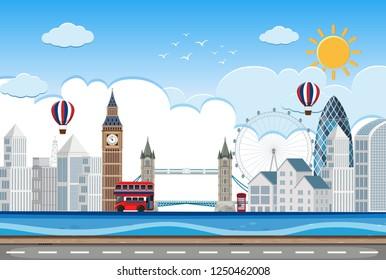 London city lin scene illustration