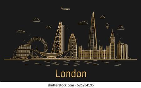London city line art, golden architecture vector illustration, skyline city, all famous buildings.