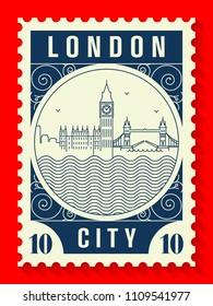 London City Line Style Postage Stamp Design