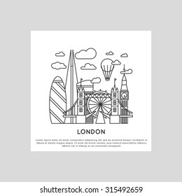 london city line vector illustration