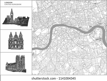 London city map with hand-drawn architecture icons. All drawigns, map and background separated for easy color change. Easy repositioning in vector version.