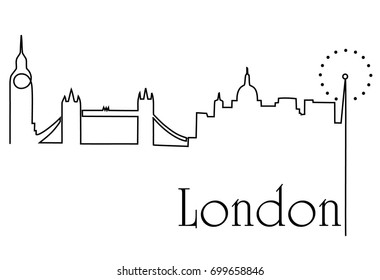London city one line drawing background