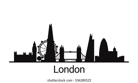 London city outline skyline. All London buildings - customizable objects, so you can simple change skyline composition. Minimal design.