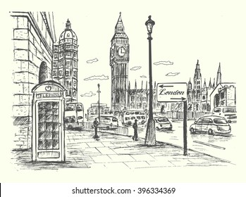 London city scene with Big Ben,road,traffic,architecture,telephone booth.Ink hand drawn  style,isolated,vector, illustration.