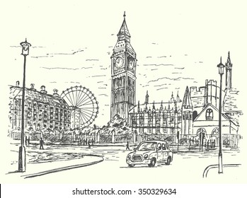 London city scene hand drawn style isolated,vector illustration