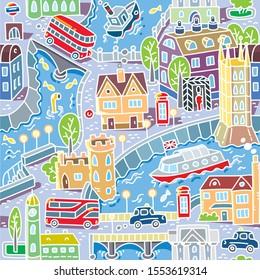 London. City seamless pattern Roads, houses, river