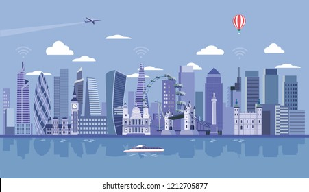 London City Skyline at the background. Flat vector illustration.