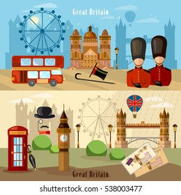 London City Skyline banner. Welcome to Britain. United Kingdom buildings royal guards london attraction vector