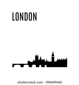 London City skyline black silhouette modern typographic design. London landmark vector illustration. Big Ben, Westminster Abbey, Tower bridge. Architecture of England. Great Britain capital panorama