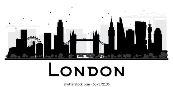 London City skyline black and white silhouette. Simple flat concept for tourism presentation, banner, placard or web site. Cityscape with landmarks. Vector illustration.