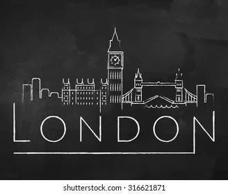 London City Skyline with Chalk Drawing on a Blackboard