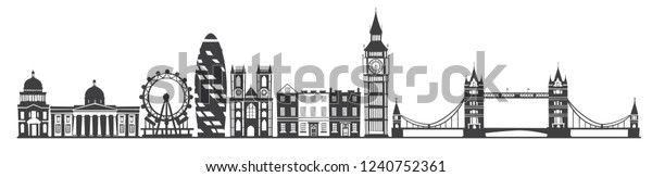London city skyline gray silhouette background. Vector illustration isolated on white background