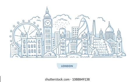 London City Skyline with Landmarks. Hand Drawn Illustration