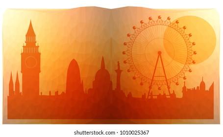 London city skyline  look like in open book - triangulated