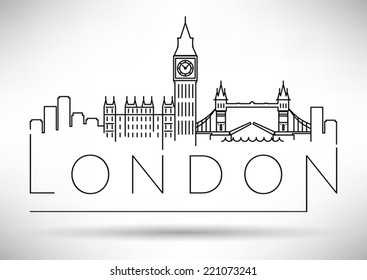 London City Skyline Modern Typographic Design