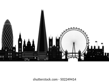 London city skyline silhouette, background vector illustration. Isolated on white