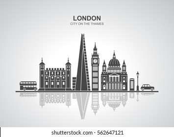 London city skyline silhouette background. Vector illustration of most famous London attractions. Isolated on white background.