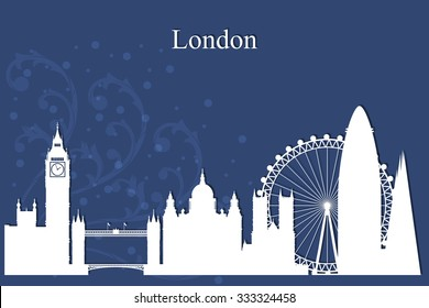 London city skyline silhouette on blue background, vector illustration