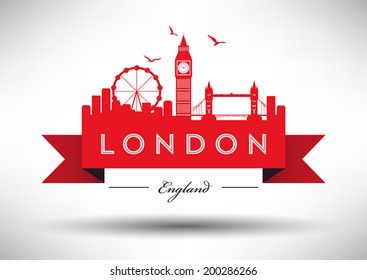 London City Skyline with Typographic Design