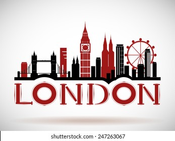 London City Skyline with Typographic Design. eps10 vector