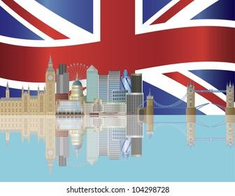 London City Skyline with UK Union Jack Flag Background Illustration