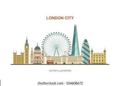 London city skyline. Vector illustration of most famous London attractions in trendy flat style. Isolated on white background.