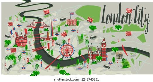 London city tourism map vector illustration artwork