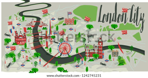 London City Tourist Map.London City Tourism Map Vector Illustration Stock Vector Royalty