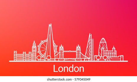 London city white line on colorful background. All London buildings - customizable objects with opacity mask, so you can simple change composition and background. Line art.