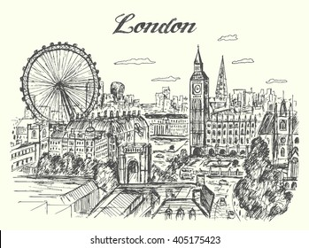 London cityscape panorama from birds eye view,hand drawn,sketch style,isolated,vector,illustrations