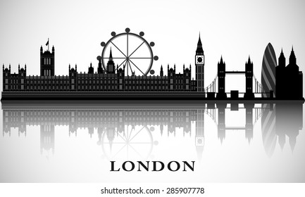 London cityscape. Vector city skyline. Graphic detailed silhouette with landmarks.