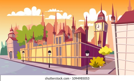 London cityscape vector illustration. Cartoon London famous landmarks at day, Big Ben or Parliament House and England city street buildings or architecture view on flat background