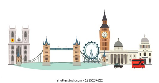 London cityscape vector illustration. Cartoon United Kingdom skyline. London tourist landmarks. Tower bridge art. London symbols red phone booth and bus. Isolated on white background