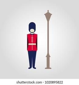 London classic royal guard isolated flat vector illustration