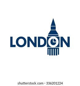 london clock tower logo. london big bin icon. logo and icon vector.