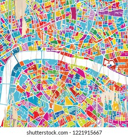 London Colorful map. Vintage map series.