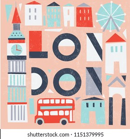 London. Colorful Print Design
