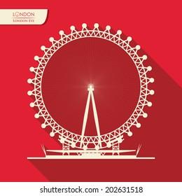 London design over red background, vector illustration