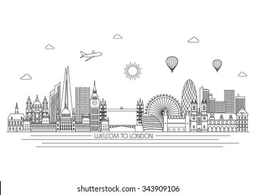 London detailed Skyline. Travel and tourism background. Vector background. line illustration. Line art style