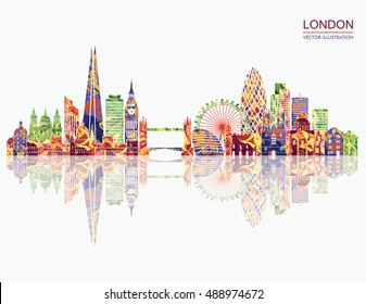 London detailed skyline. Travel and tourism background. Vector illustration