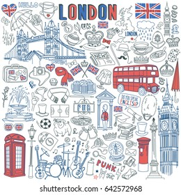 London doodle set. Landmarks, architecture and traditional symbols of English culture - Big Ben, Tower Bridge, Royal crown, red telephone box, Union Jack. Isolated on white background.