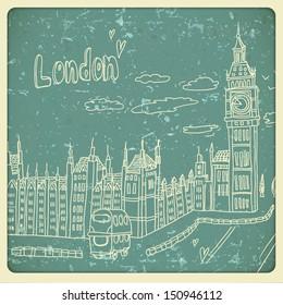 London doodles drawing landscape in vintage style