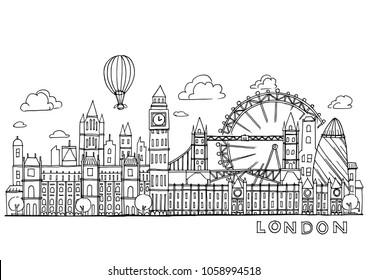 London doodles drawing landscape,Sketch collection