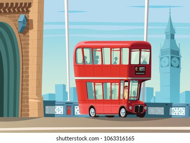 London double decker bus on Tower Bridge and city landscape in background