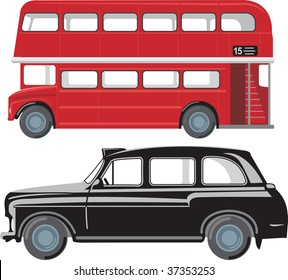 London doubledecker red bus and traditional taxi cab